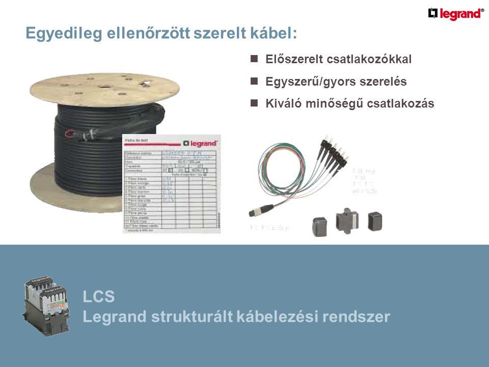Egyedileg ellenőrzött szerelt kábel:  Előszerelt csatlakozókkal  Egyszerű/gyors szerelés  Kiváló minőségű csatlakozás LCS Legrand strukturált kábelezési rendszer