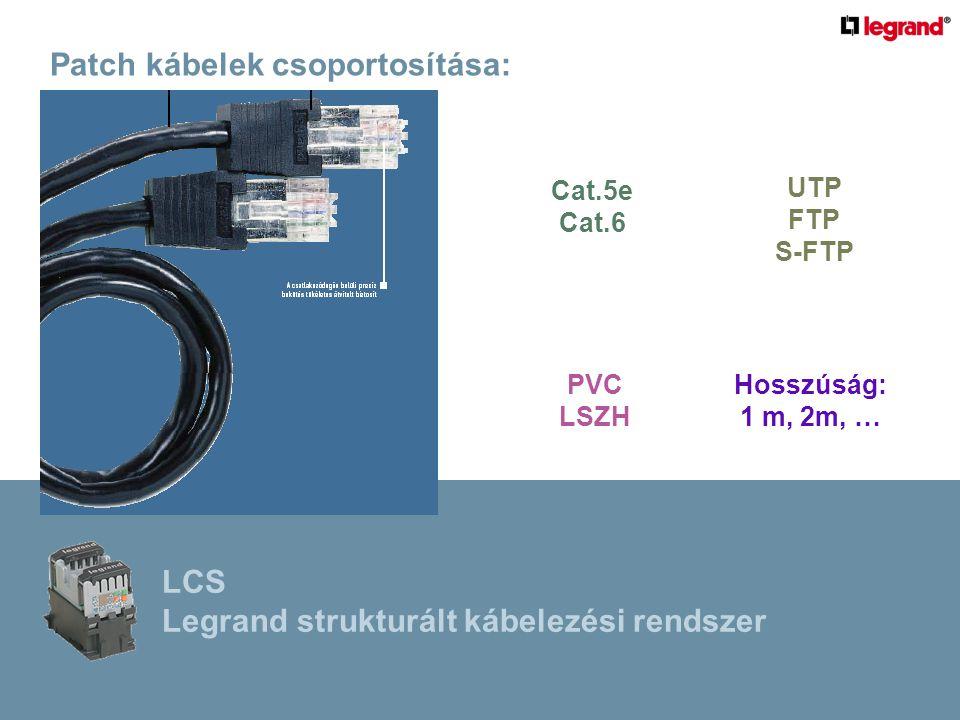 Patch kábelek csoportosítása: Hosszúság: 1 m, 2m, … Cat.5e Cat.6 PVC LSZH UTP FTP S-FTP LCS Legrand strukturált kábelezési rendszer