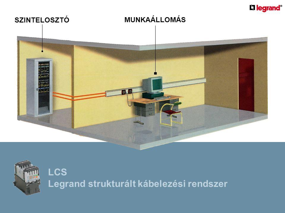 Szabványok  ISO/IEC 11802 :2002-09  strukturált kábelezési rendszer felépítése adatátvitel minőségét jellemző paraméterek (csillapítási értékek)  EN 50174-1:2000  műszaki előírások, minőségellenőrzés, adminisztráció  EN 50174-2:2000  árnyékolás, földelés, energiaelosztási és gyengeáramú kábelezési rendszerek különválasztása  EN 50310; MSZ 2364-410  védelmi rendszerek, egyenpotenciálú kötések kialakítására vonatozó szabályokat LCS Legrand strukturált kábelezési rendszer