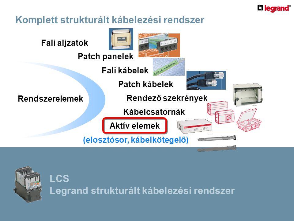 Rendszerelemek Fali aljzatok Patch panelek Fali kábelek Patch kábelek Rendező szekrények Kábelcsatornák Aktív elemek (elosztósor, kábelkötegelő) Komplett strukturált kábelezési rendszer LCS Legrand strukturált kábelezési rendszer