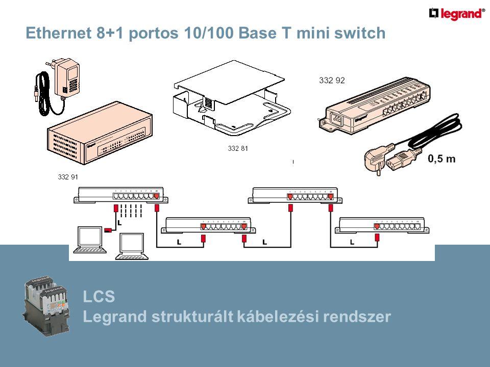 Ethernet 8+1 portos 10/100 Base T mini switch LCS Legrand strukturált kábelezési rendszer