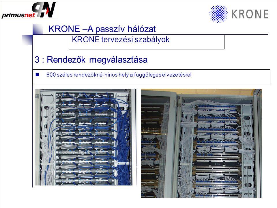 KRONE 3/98 Folie 6 KRONE –A passzív hálózat 3 : Rendezők megválasztása  600 széles rendezőknél nincs hely a függőleges elvezetésre.