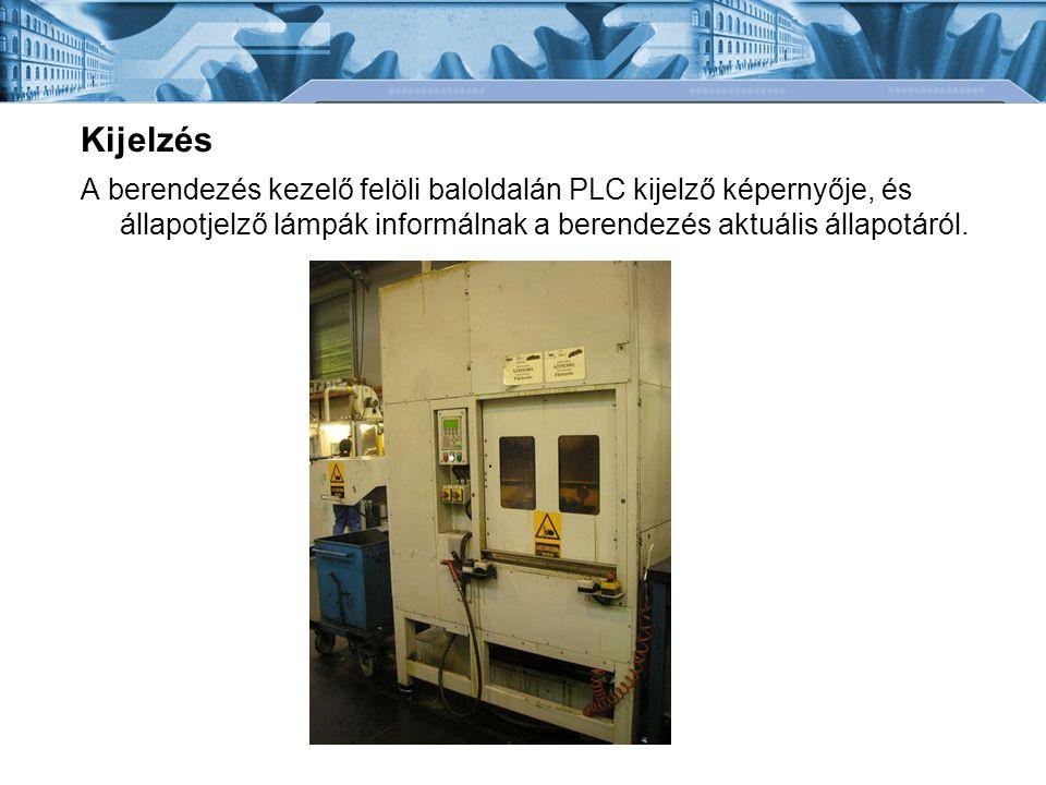 Kijelzés A berendezés kezelő felöli baloldalán PLC kijelző képernyője, és állapotjelző lámpák informálnak a berendezés aktuális állapotáról.