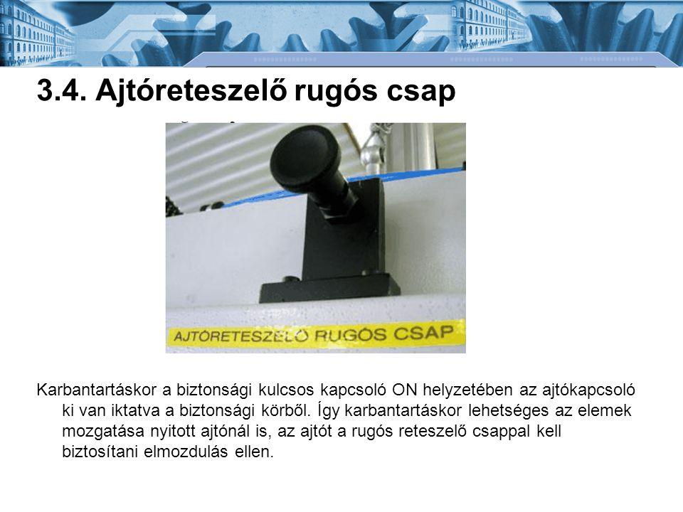 3.4. Ajtóreteszelő rugós csap Karbantartáskor a biztonsági kulcsos kapcsoló ON helyzetében az ajtókapcsoló ki van iktatva a biztonsági körből. Így kar