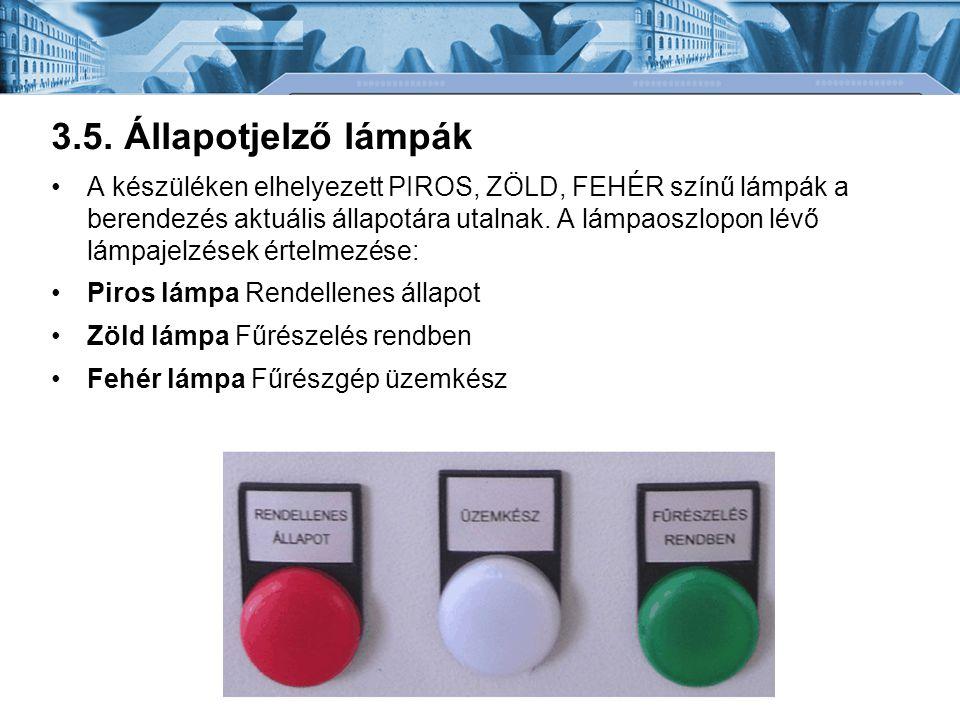 3.5. Állapotjelző lámpák •A készüléken elhelyezett PIROS, ZÖLD, FEHÉR színű lámpák a berendezés aktuális állapotára utalnak. A lámpaoszlopon lévő lámp