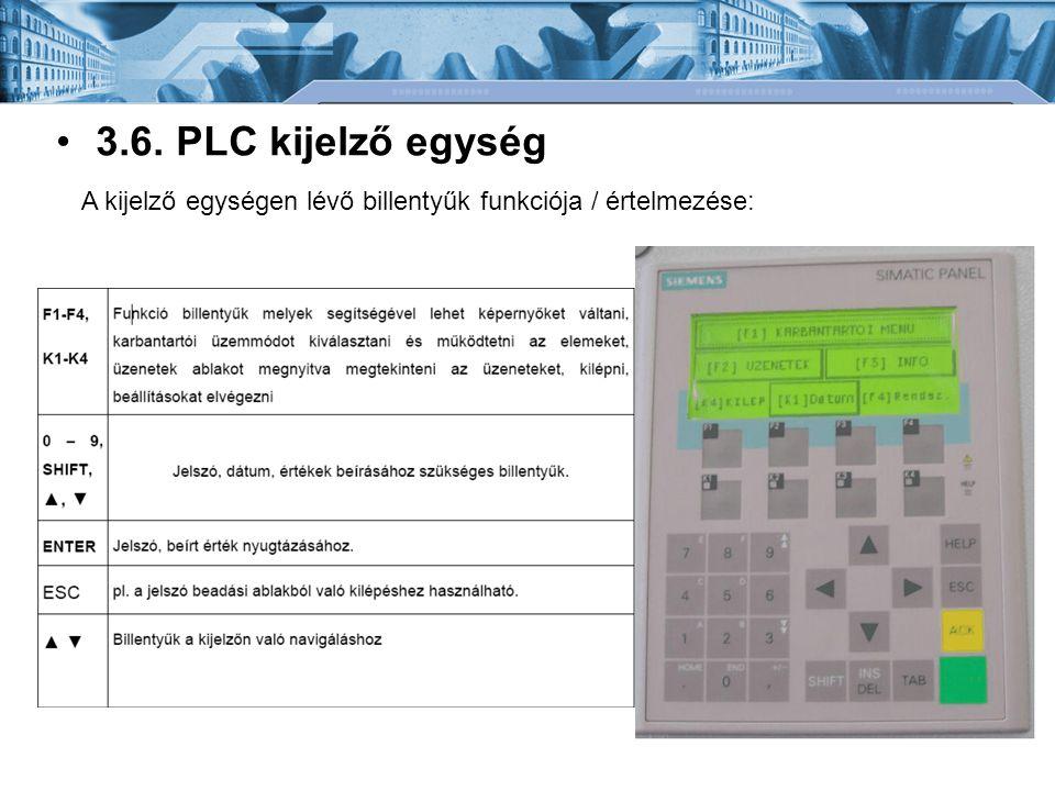 •3.6. PLC kijelző egység A kijelző egységen lévő billentyűk funkciója / értelmezése:
