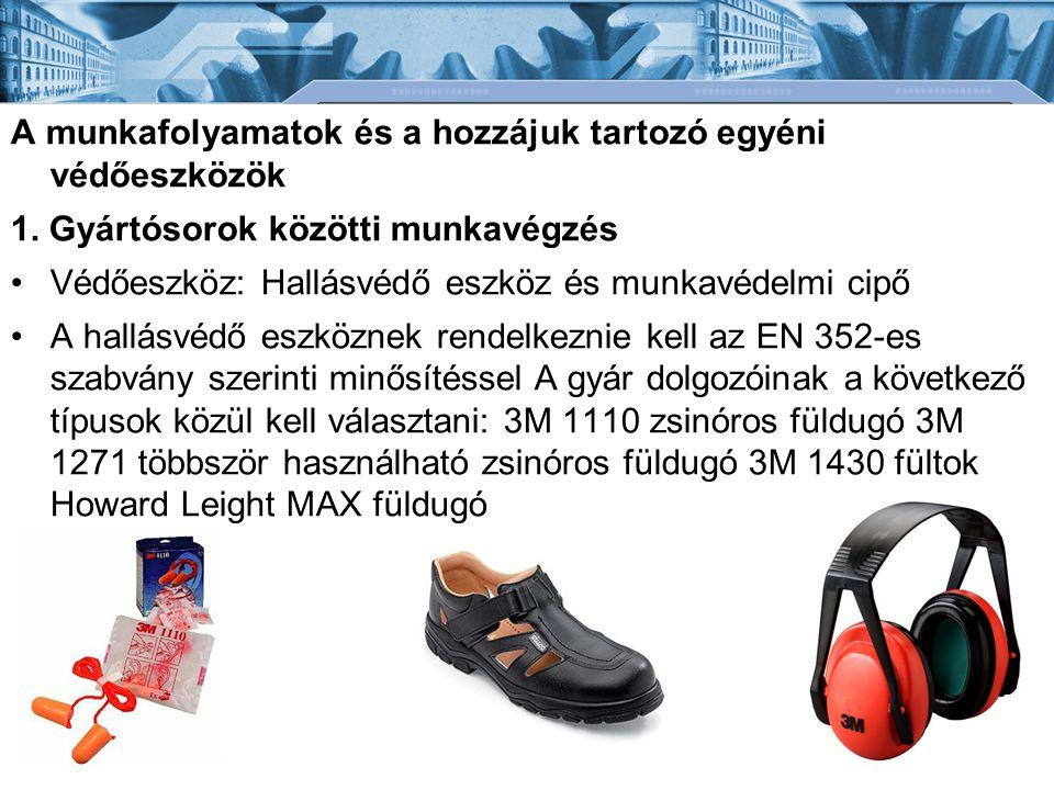 A munkafolyamatok és a hozzájuk tartozó egyéni védőeszközök 1. Gyártósorok közötti munkavégzés •Védőeszköz: Hallásvédő eszköz és munkavédelmi cipő •A