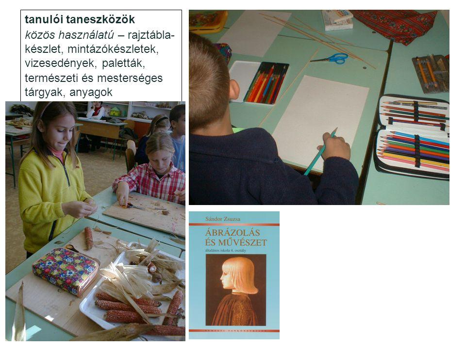 tanulói taneszközök közös használatú – rajztábla- készlet, mintázókészletek, vizesedények, paletták, természeti és mesterséges tárgyak, anyagok egyéni felszerelés – tankönyv, rajzlapok, rajzlaptartó, festő- és rajzkészletek, olló, ragasztó (folyékony és szalag) …