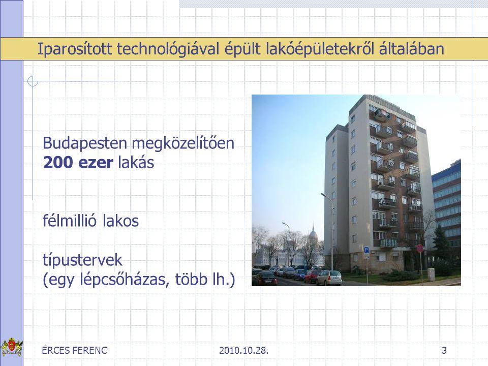 ÉRCES FERENC2010.10.28.3 Iparosított technológiával épült lakóépületekről általában Budapesten megközelítően 200 ezer lakás félmillió lakos típusterve