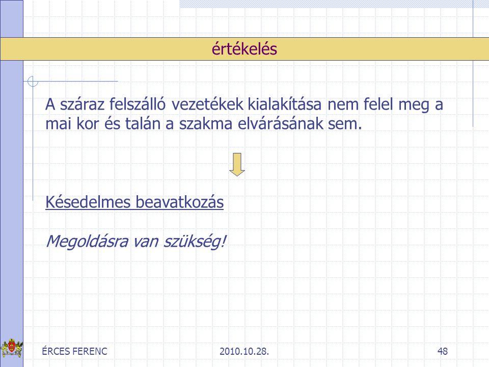 ÉRCES FERENC2010.10.28.48 értékelés A száraz felszálló vezetékek kialakítása nem felel meg a mai kor és talán a szakma elvárásának sem. Késedelmes bea
