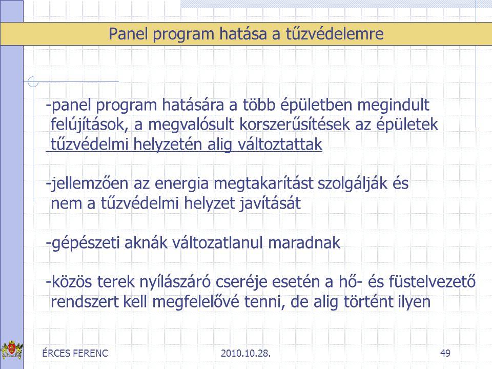 ÉRCES FERENC2010.10.28.49 Panel program hatása a tűzvédelemre -panel program hatására a több épületben megindult felújítások, a megvalósult korszerűsí