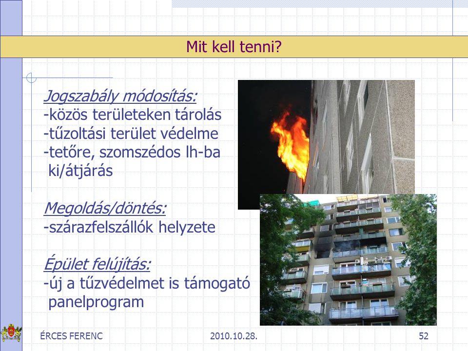 ÉRCES FERENC2010.10.28.52 Mit kell tenni? Jogszabály módosítás: -közös területeken tárolás -tűzoltási terület védelme -tetőre, szomszédos lh-ba ki/átj