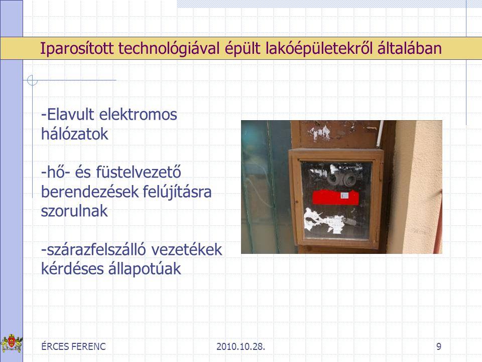 ÉRCES FERENC2010.10.28.10 Előzmények -az ellenőrzések a lakóépület közös tereit, a tárolókat érintették magas házak két évente tételes ellenőrzés középmagas épületek5-6 évente tételes ellenőrzés Értékelés, következtetések, feladatok