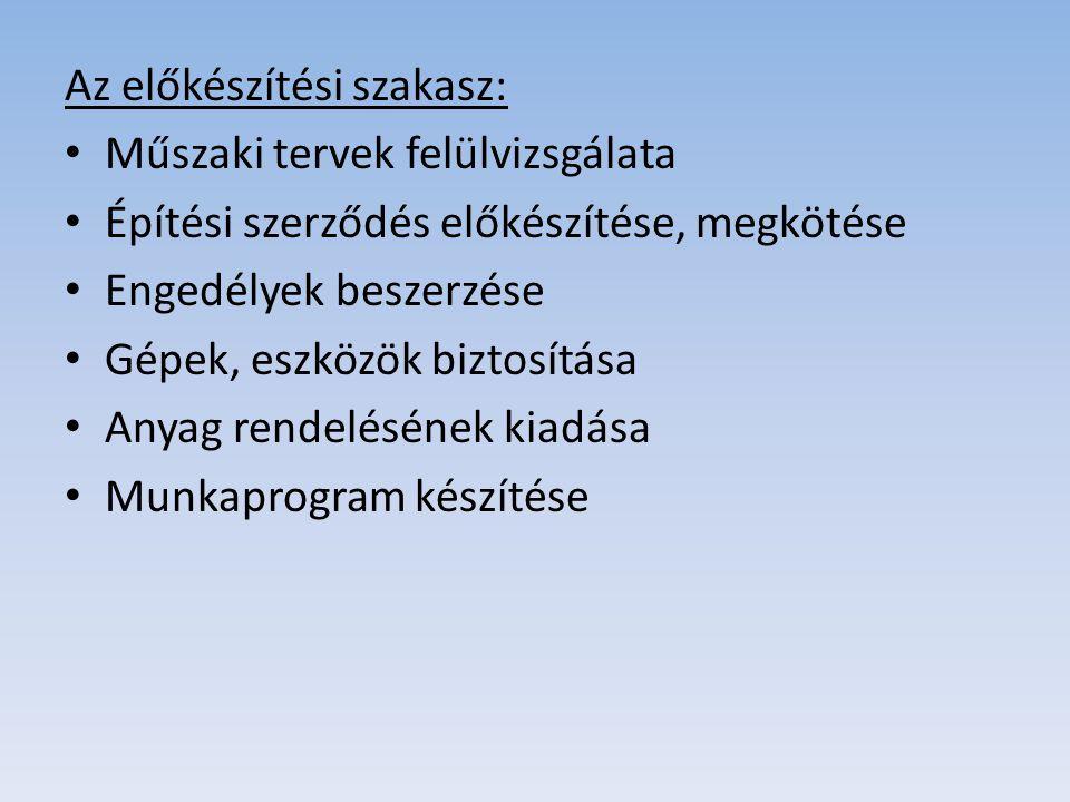 Az előkészítési szakasz: • Műszaki tervek felülvizsgálata • Építési szerződés előkészítése, megkötése • Engedélyek beszerzése • Gépek, eszközök biztos