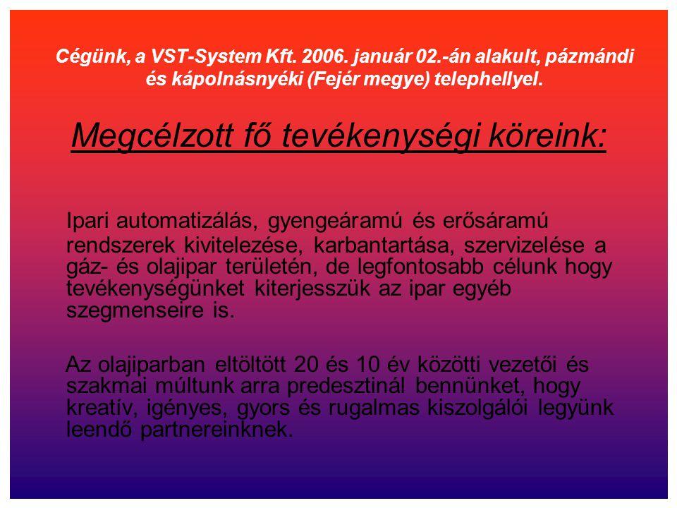 Cégünk, a VST-System Kft. 2006. január 02.-án alakult, pázmándi és kápolnásnyéki (Fejér megye) telephellyel. Megcélzott fő tevékenységi köreink: Ipari