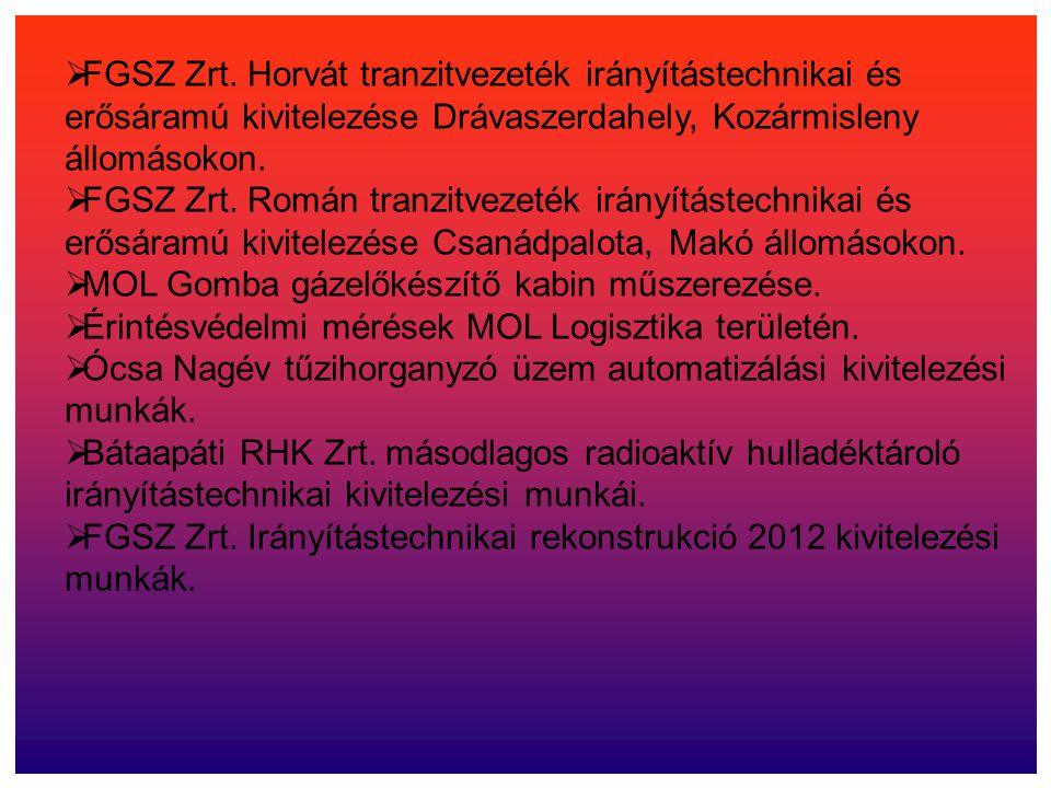  FGSZ Zrt. Horvát tranzitvezeték irányítástechnikai és erősáramú kivitelezése Drávaszerdahely, Kozármisleny állomásokon.  FGSZ Zrt. Román tranzitvez