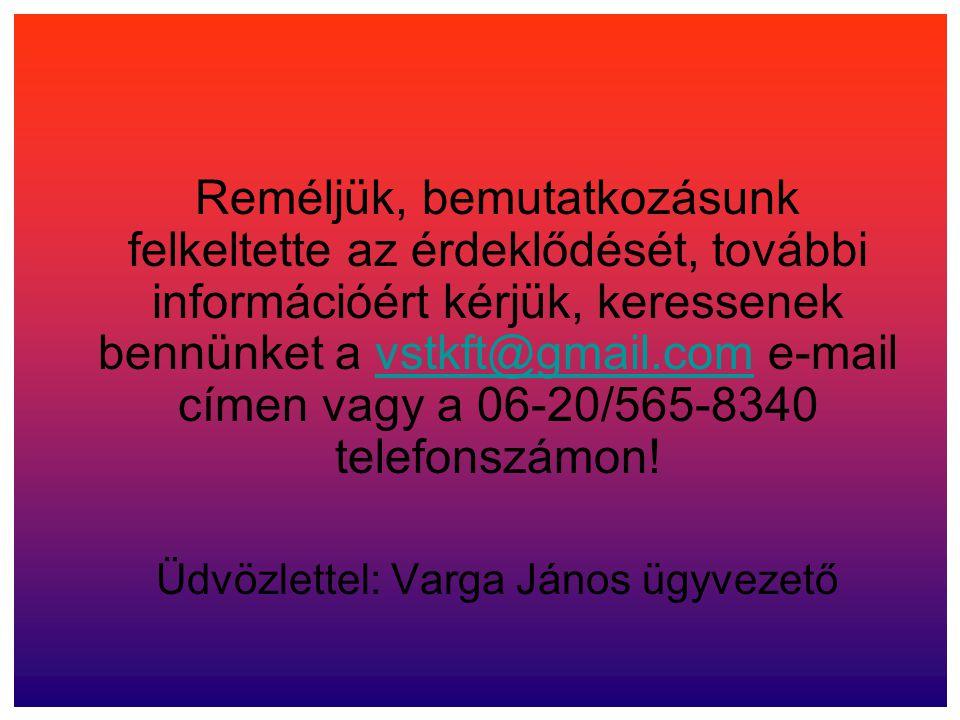 Reméljük, bemutatkozásunk felkeltette az érdeklődését, további információért kérjük, keressenek bennünket a vstkft@gmail.com e-mail címen vagy a 06-20
