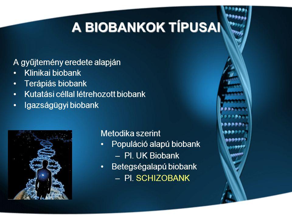 A BIOBANKOK TÍPUSAI A gyűjtemény eredete alapján •Klinikai biobank •Terápiás biobank •Kutatási céllal létrehozott biobank •Igazságügyi biobank Metodika szerint •Populáció alapú biobank –Pl.