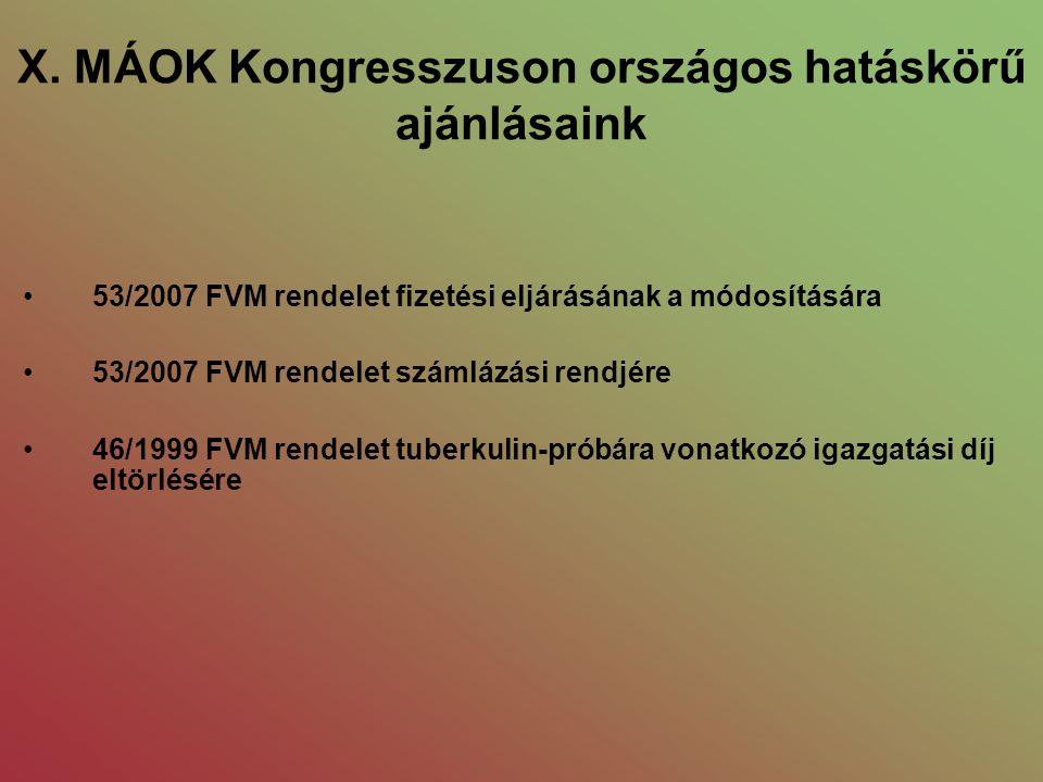 X. MÁOK Kongresszuson országos hatáskörű ajánlásaink •53/2007 FVM rendelet fizetési eljárásának a módosítására •53/2007 FVM rendelet számlázási rendjé