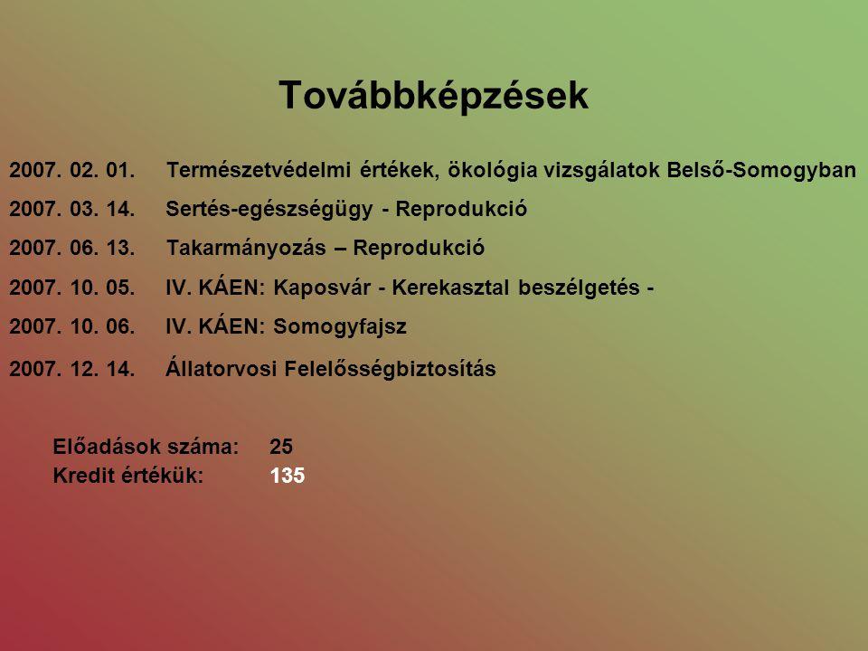 Továbbképzések 2007. 02. 01. Természetvédelmi értékek, ökológia vizsgálatok Belső-Somogyban 2007.