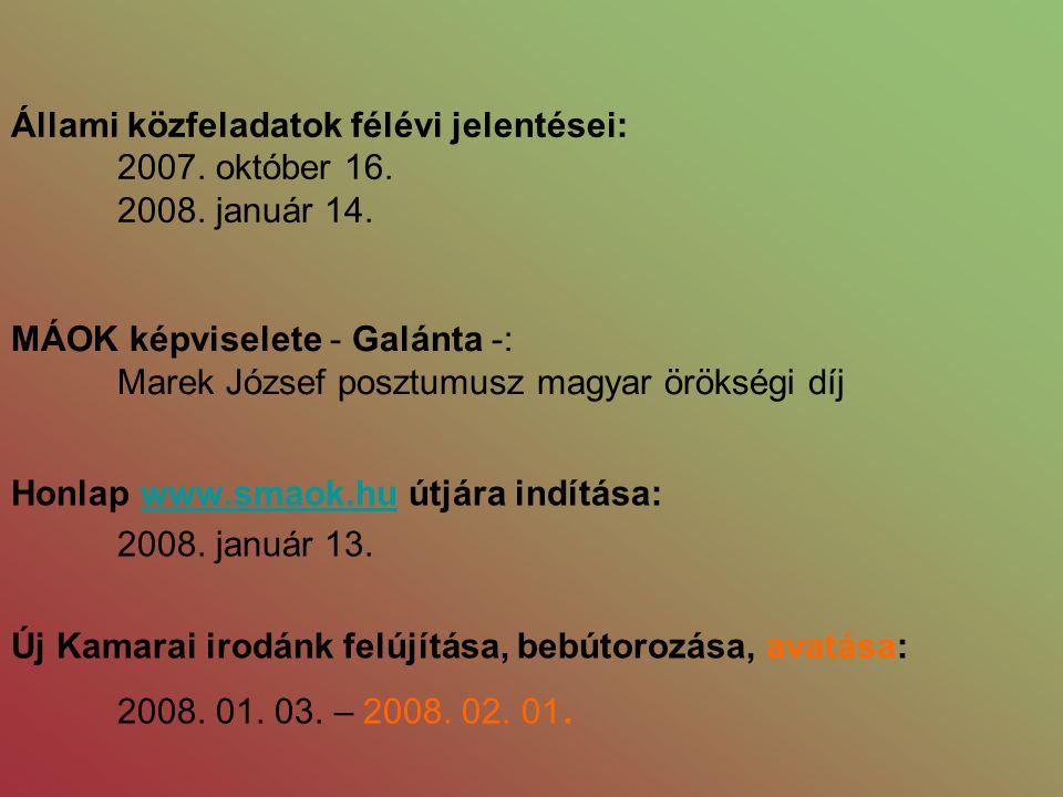 Állami közfeladatok félévi jelentései: 2007. október 16. 2008. január 14. Honlap www.smaok.hu útjára indítása:www.smaok.hu 2008. január 13. Új Kamarai