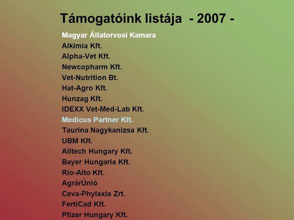 Támogatóink listája - 2007 - Magyar Állatorvosi Kamara Alkimia Kft. Alpha-Vet Kft. Newcopharm Kft. Vet-Nutrition Bt. Hat-Agro Kft. Hunzag Kft. IDEXX V