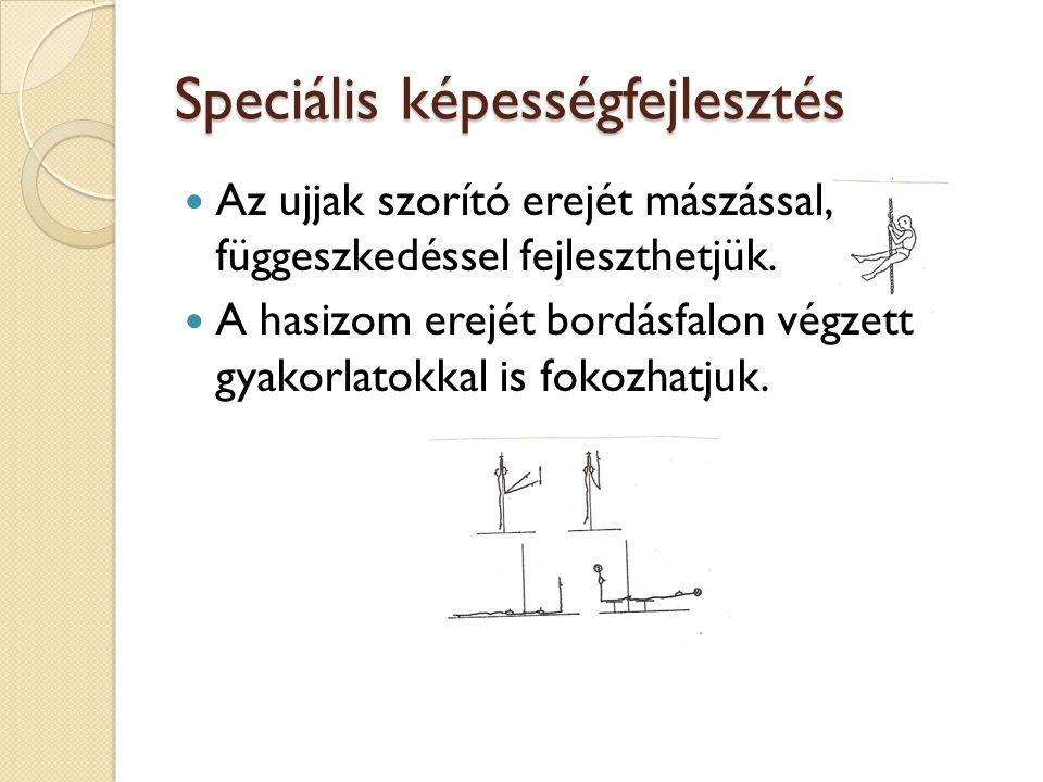 Speciális képességfejlesztés  Az ujjak szorító erejét mászással, függeszkedéssel fejleszthetjük.  A hasizom erejét bordásfalon végzett gyakorlatokka