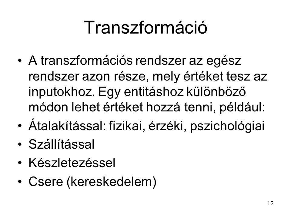 12 Transzformáció •A transzformációs rendszer az egész rendszer azon része, mely értéket tesz az inputokhoz.