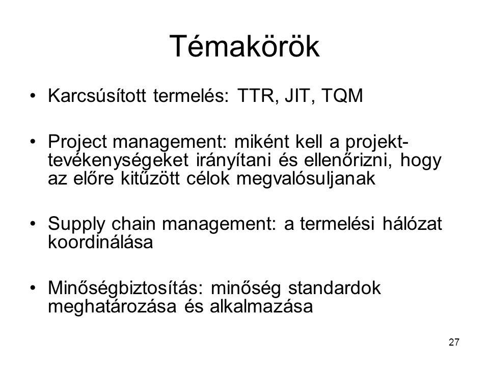 27 Témakörök •Karcsúsított termelés: TTR, JIT, TQM •Project management: miként kell a projekt- tevékenységeket irányítani és ellenőrizni, hogy az előre kitűzött célok megvalósuljanak •Supply chain management: a termelési hálózat koordinálása •Minőségbiztosítás: minőség standardok meghatározása és alkalmazása