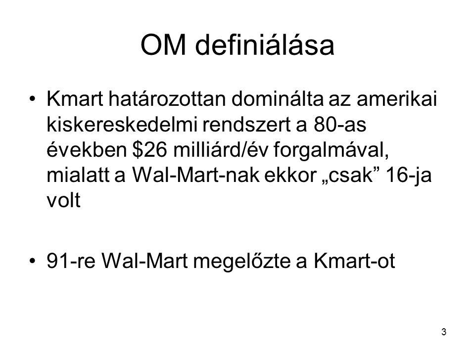 """3 OM definiálása •Kmart határozottan dominálta az amerikai kiskereskedelmi rendszert a 80-as években $26 milliárd/év forgalmával, mialatt a Wal-Mart-nak ekkor """"csak 16-ja volt •91-re Wal-Mart megelőzte a Kmart-ot"""