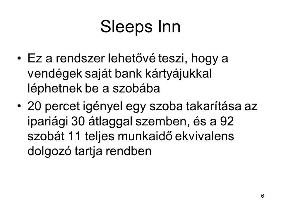 6 Sleeps Inn •Ez a rendszer lehetővé teszi, hogy a vendégek saját bank kártyájukkal léphetnek be a szobába •20 percet igényel egy szoba takarítása az ipariági 30 átlaggal szemben, és a 92 szobát 11 teljes munkaidő ekvivalens dolgozó tartja rendben