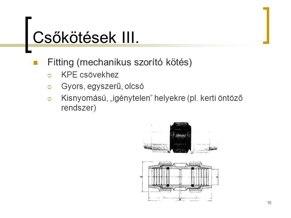 """Csőkötések III.  Fitting (mechanikus szorító kötés)  KPE csövekhez  Gyors, egyszerű, olcsó  Kisnyomású, """"igénytelen"""" helyekre (pl. kerti öntöző re"""
