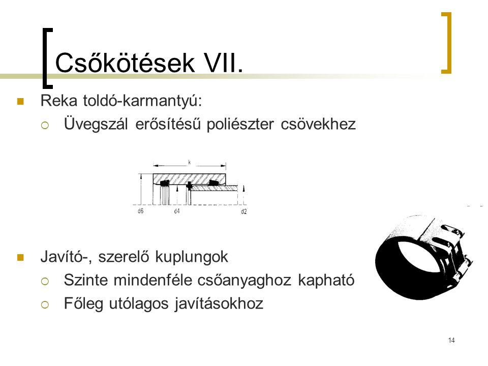 Csőkötések VII.  Reka toldó-karmantyú:  Üvegszál erősítésű poliészter csövekhez  Javító-, szerelő kuplungok  Szinte mindenféle csőanyaghoz kapható
