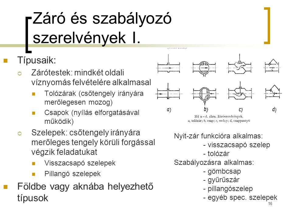 Záró és szabályozó szerelvények I.  Típusaik:  Zárótestek: mindkét oldali víznyomás felvételére alkalmasak  Tolózárak (csőtengely irányára merőlege