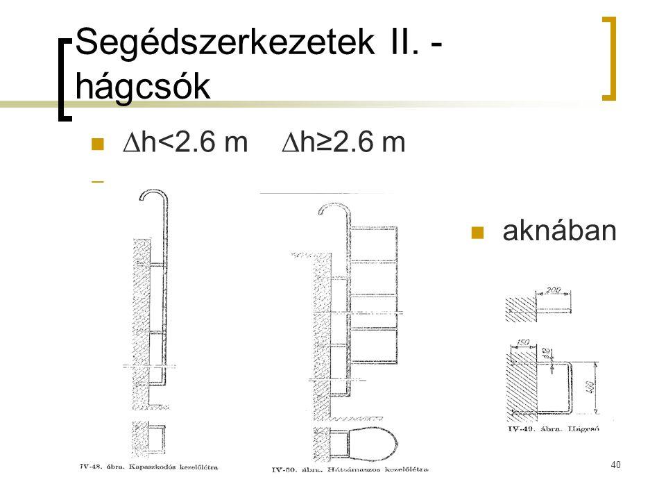 Segédszerkezetek II. - hágcsók  ∆h<2.6 m ∆h≥2.6 m  40  aknában