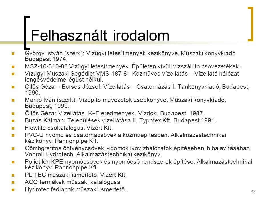 42 Felhasznált irodalom  György István (szerk): Vízügyi létesítmények kézikönyve. Műszaki könyvkiadó Budapest 1974.  MSZ-10-310-86 Vízügyi létesítmé