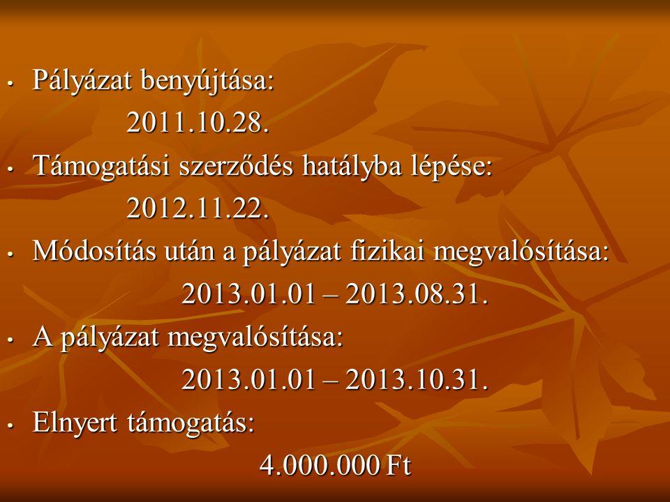 • Pályázat benyújtása: 2011.10.28. 2011.10.28. • Támogatási szerződés hatályba lépése: 2012.11.22.