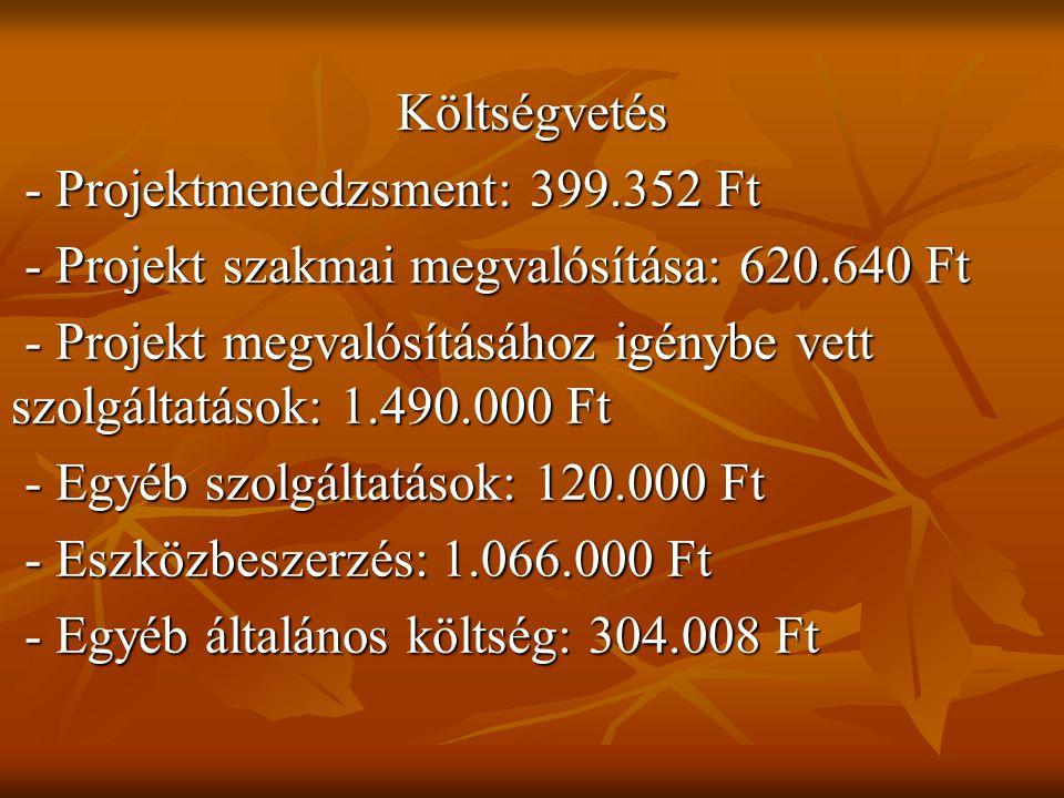 Költségvetés - Projektmenedzsment: 399.352 Ft - Projektmenedzsment: 399.352 Ft - Projekt szakmai megvalósítása: 620.640 Ft - Projekt szakmai megvalósítása: 620.640 Ft - Projekt megvalósításához igénybe vett szolgáltatások: 1.490.000 Ft - Projekt megvalósításához igénybe vett szolgáltatások: 1.490.000 Ft - Egyéb szolgáltatások: 120.000 Ft - Egyéb szolgáltatások: 120.000 Ft - Eszközbeszerzés: 1.066.000 Ft - Eszközbeszerzés: 1.066.000 Ft - Egyéb általános költség: 304.008 Ft - Egyéb általános költség: 304.008 Ft