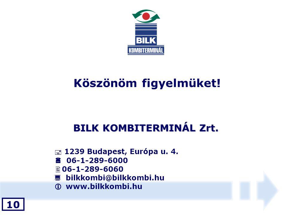 Köszönöm figyelmüket! BILK KOMBITERMINÁL Zrt.  1239 Budapest, Európa u. 4.  06-1-289-6000  06-1-289-6060  bilkkombi@bilkkombi.hu  www.bilkkombi.h