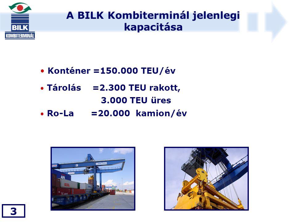 A BILK Kombiterminál jelenlegi kapacitása 3 • Konténer =150.000 TEU/év • Tárolás =2.300 TEU rakott, 3.000 TEU üres • Ro-La =20.000 kamion/év