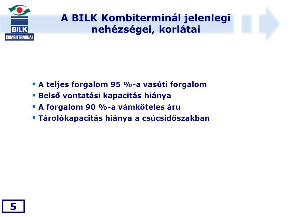 A BILK Kombiterminál jelenlegi nehézségei, korlátai 5  A teljes forgalom 95 %-a vasúti forgalom  Belső vontatási kapacitás hiánya  A forgalom 90 %-a vámköteles áru  Tárolókapacitás hiánya a csúcsidőszakban