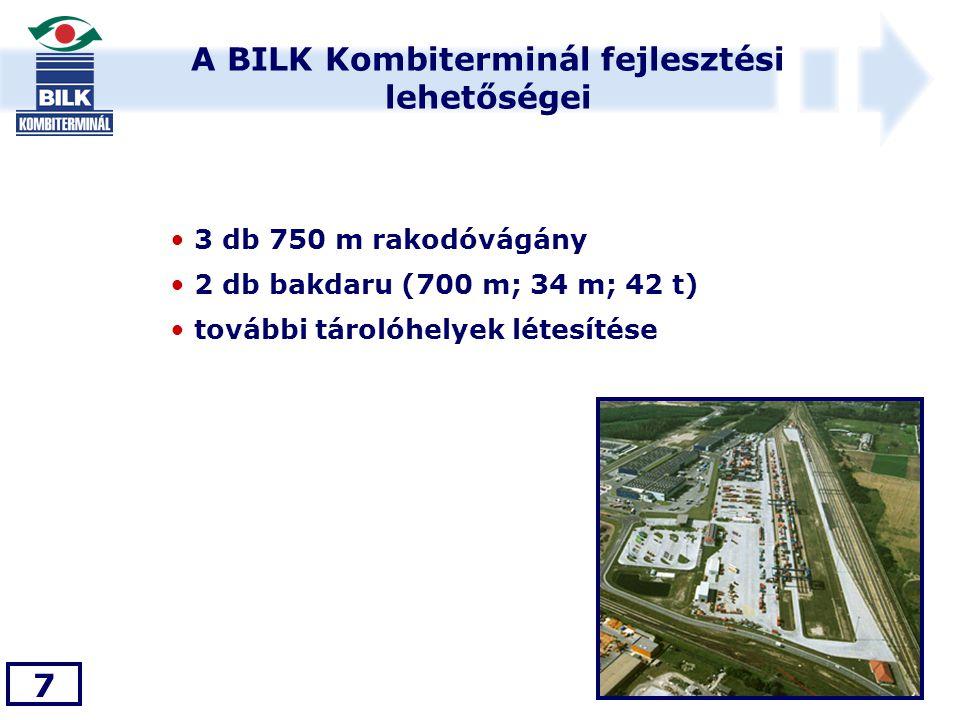 A BILK Kombiterminál fejlesztési lehetőségei 7 • 3 db 750 m rakodóvágány • 2 db bakdaru (700 m; 34 m; 42 t) • további tárolóhelyek létesítése