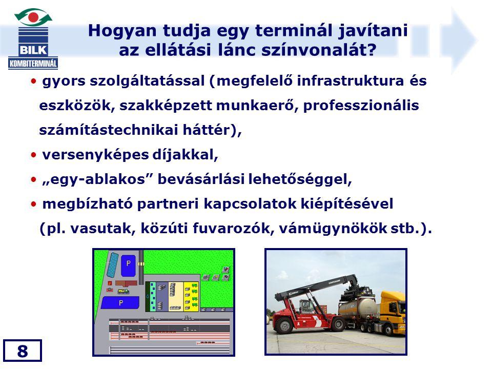 Hogyan tudja egy terminál javítani az ellátási lánc színvonalát? 8 • gyors szolgáltatással (megfelelő infrastruktura és eszközök, szakképzett munkaerő