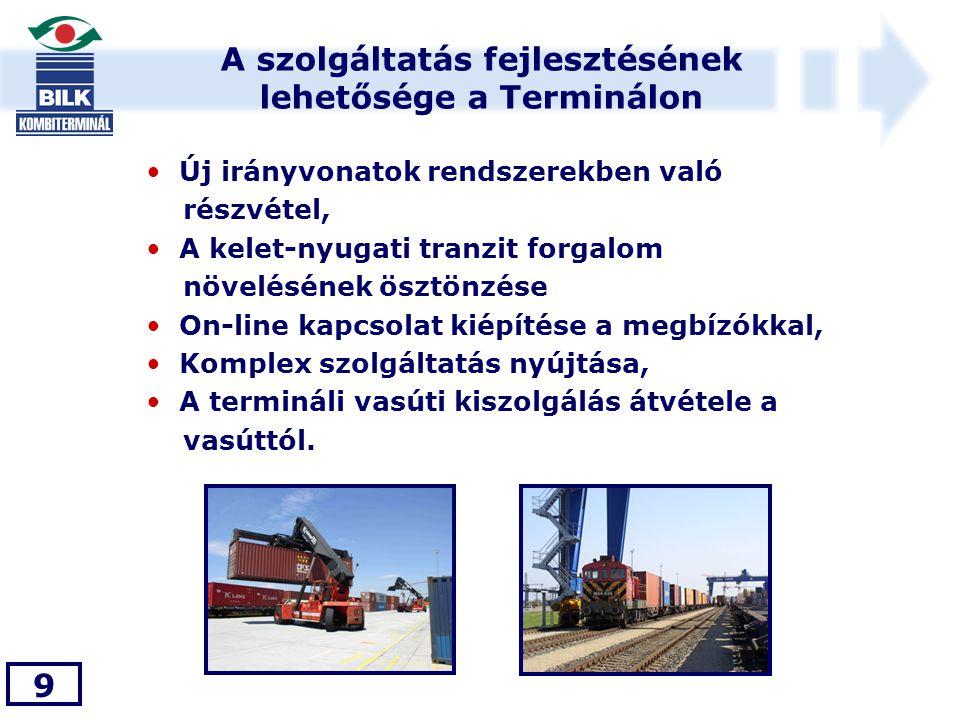A szolgáltatás fejlesztésének lehetősége a Terminálon 9 • Új irányvonatok rendszerekben való részvétel, • A kelet-nyugati tranzit forgalom növelésének ösztönzése • On-line kapcsolat kiépítése a megbízókkal, • Komplex szolgáltatás nyújtása, • A termináli vasúti kiszolgálás átvétele a vasúttól.