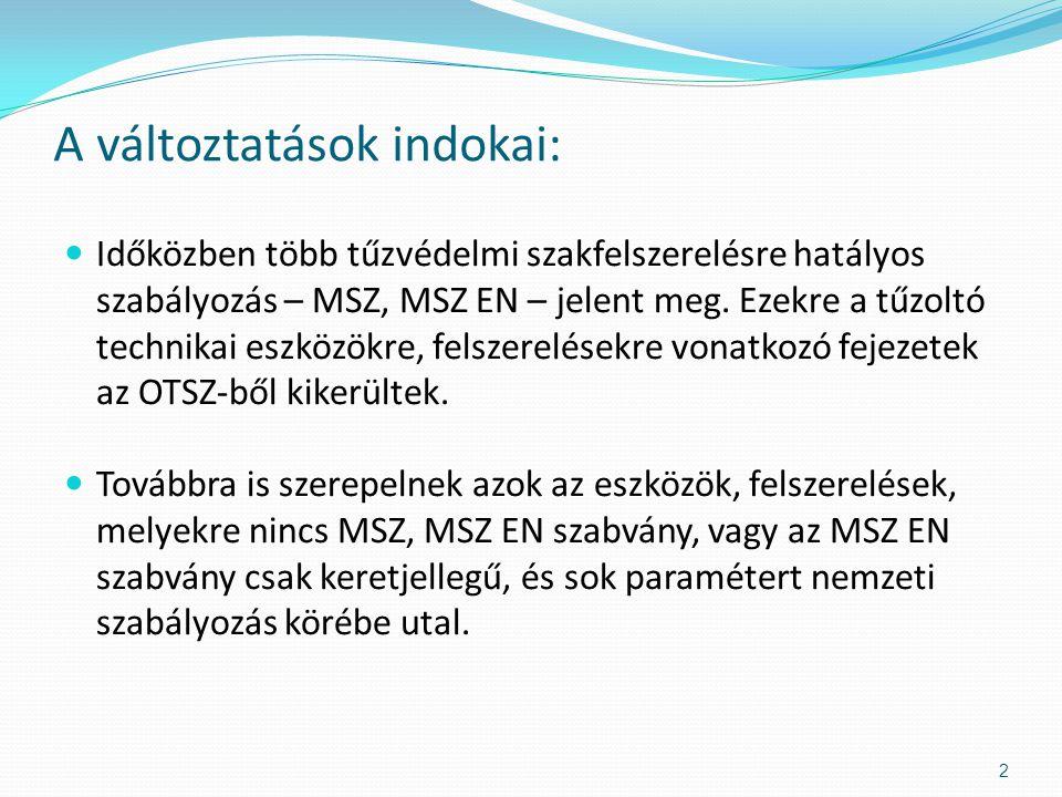  EU szabályozás nincs, magyar előszabvány az MSZE 1092  A fejezet a tűzoltó kapcsok tűzvédelmi követelményeit, méreteit, kivitelét (DIN szabványok figyelembe vételével), vizsgálati módszereit tartalmazza.