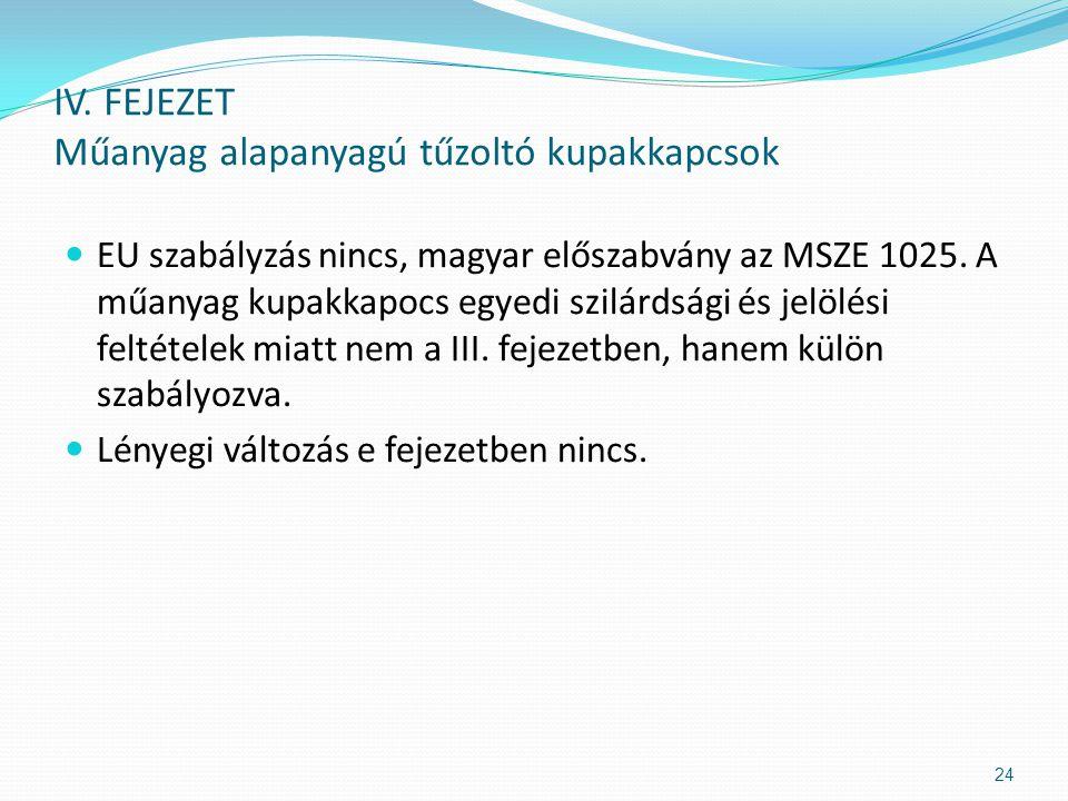  EU szabályzás nincs, magyar előszabvány az MSZE 1025. A műanyag kupakkapocs egyedi szilárdsági és jelölési feltételek miatt nem a III. fejezetben, h