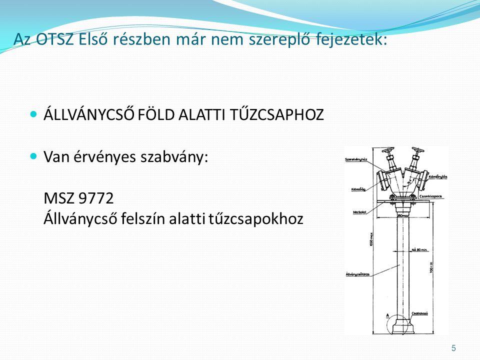  A föld feletti és a föld alatti tűzcsapokra vannak hatályos szabványok (MSZ EN 14384 Felszín feletti tűzcsap; MSZ EN 14339 Felszín alatti tűzcsap).