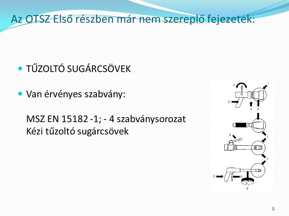  HABSUGÁRCSÖVEK  Van érvényes szabvány: MSZ 9789 Nehéz- és középhabbal oltó kézi habsugárcsövek kialakítása, teljesítménykövetelményei és vizsgálati módszerei Az OTSZ Első részben már nem szereplő fejezetek: 10