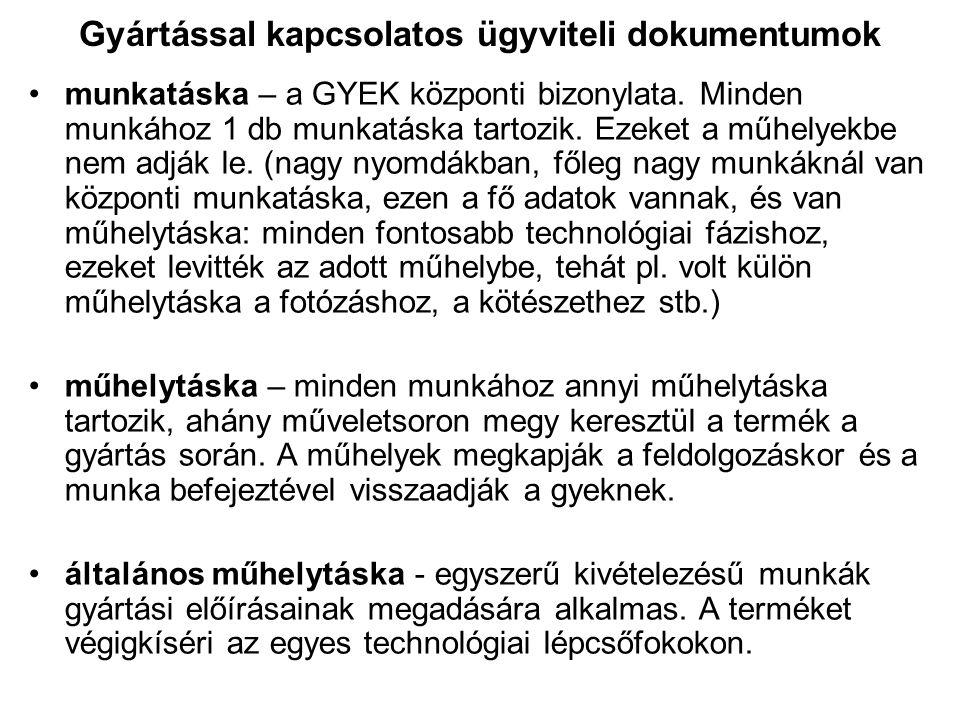 Gyártással kapcsolatos ügyviteli dokumentumok •munkatáska – a GYEK központi bizonylata. Minden munkához 1 db munkatáska tartozik. Ezeket a műhelyekbe