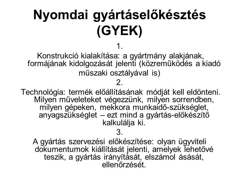Nyomdai gyártáselőkésztés (GYEK) 1. Konstrukció kialakítása: a gyártmány alakjának, formájának kidolgozását jelenti (közreműködés a kiadó műszaki oszt
